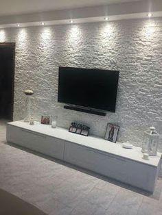 Creative Modern TV Wall Decor Idea for Living Room Design - Home Decor Interior Tv Wall Design, Ceiling Design, House Design, Home Living Room, Living Room Decor, Kitchen Living, Tv Wanddekor, Tv Wall Decor, Wall Tv