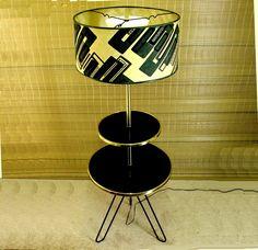 Vintage Mid Century Modern 2 Tier Hairpin Leg Table Floor Lamp w Shade   eBay