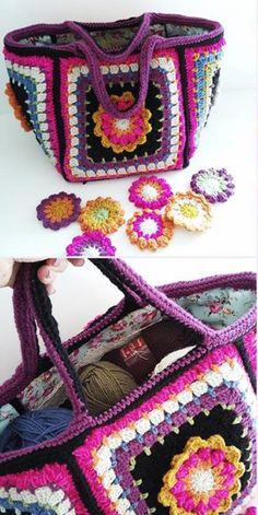 Frida's Flowers project bag crochet along - essentially a granny bag! Free Crochet Bag, Crochet Shell Stitch, Crochet Clutch, Crochet Cross, Crochet Handbags, Crochet Purses, Love Crochet, Crochet Granny, Crochet Motif