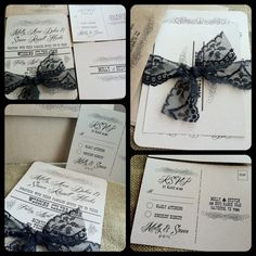 VINTAGE Wedding Invitation - Vintage Scroll Collection - RUSTIC - Black LACE - Custom - Recycled - Eco Friendly