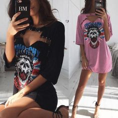 Trendy Skull Pattern Heart Hole Safety Pin Embellished T-shirt Dress