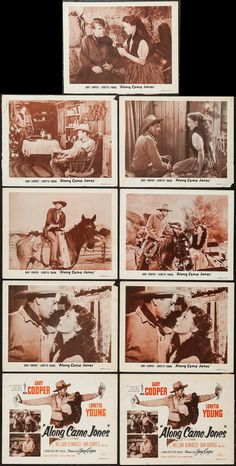 """Along Came Jones (Independent Releasing, R-1953). Title Lobby Cards (2) & Lobby Cards (7) (11"""" X 14""""). Western. Starring Gary Cooper, Loretta Young, William Demarest, Dan Duryea, Frank Sully, Don Costello, Walter Sande, Russell Simpson, Arthur Loft, Willard Robertson, Ray Teal, and Lane Chandler. Directed by Stuart Heisler."""