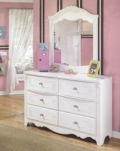 Exquisite Luminous White Wood Dresser & Mirror