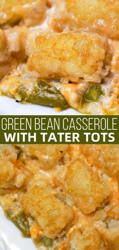 Green Bean Casserole with Tater Tots is an easy side dish recipe made with canned green beans and loaded with cream of mushroom soup, French's fried onions, shredded cheese and tater tots.