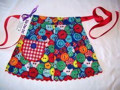 And a little retro patchwork half for the little person . . . ApronGirls Patchwork Buttons Half by SusiesTieOneOnAprons on Etsy