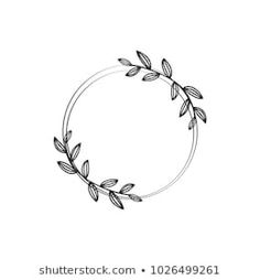 Similar Images, Stock Photos & Vectors of Hand drawn vector frame. Floral wreath with leaves for wedding and holiday. Decorative elements for design. Bullet Journal Art, Bullet Journal Ideas Pages, Bullet Journal Inspiration, Flower Circle, Flower Frame, Marshmello Wallpapers, Circle Drawing, Wreath Tattoo, Floral Embroidery Patterns