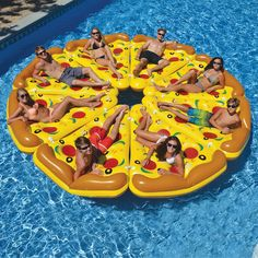 This is the ultimate pool float for your next pool party. The complete pizza pie! Includes eight slices of pizza that can be connected with the included easy-to use bungee connectors. Each slice measu
