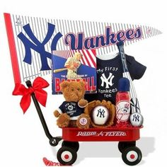 This is the perfect gift for my niece who is having a little boy! This NY Yankees Baseball Boy Radio Flyer Baby Wagon is perfect for their Yankees family.  http://www.bisketbaskets.com/ny-yankees-baseball-boy-radio-flyer-baby-wagon.html#  #giftbaskets