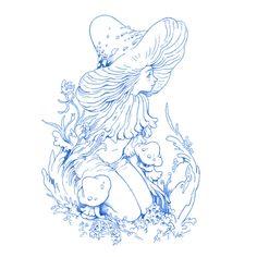 Fairy Drawings, Mushroom Art, Mushroom Drawing, Arte Sketchbook, Fairy Art, Aesthetic Art, Art Sketches, Cute Art, Art Inspo