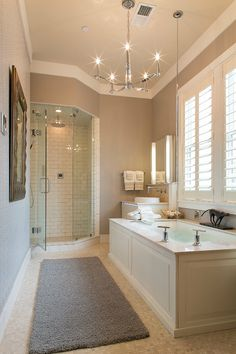 Westchester Magazine's American Dream Home-bathroom Love the warm greige colour on the walls