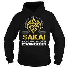 Awesome Tee SAKAI Blood Runs Through My Veins (Dragon) - Last Name, Surname T-Shirt T shirts