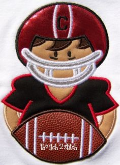 Football Boy in hoop sizes 5x7 and 6x10 by TheItch2Stitch on Etsy, $4.00