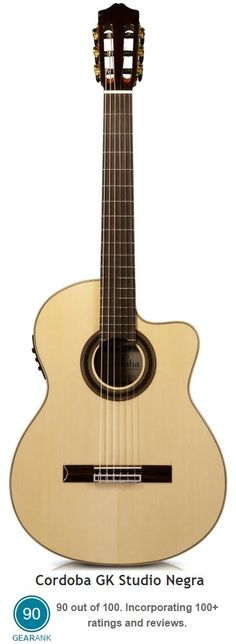 The Cordoba GK Studio Negra Acoustic-Electric is the highest rated Nylon String Guitar between $500 & $1000.