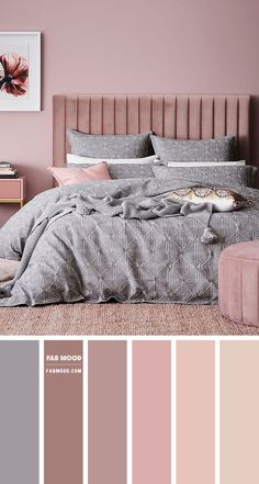 Bedroom Decor Grey Pink, Mauve Bedroom, Best Bedroom Colors, Bedroom Colour Palette, Room Design Bedroom, Bedroom Color Schemes, Room Ideas Bedroom, Home Room Design, Home Decor Bedroom