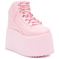 Y.R.U. Qozmo 2 Platform Sneakers ($150) ❤ liked on Polyvore featuring shoes, sneakers, high heel platform sneakers, platform trainers, cotton shoes, pink shoes and high platform sneakers
