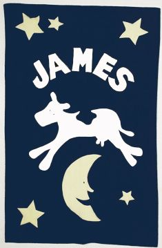 Admiral Road Personalized Navy Blue Cow Baby Blanket
