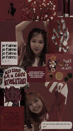 Credit @ owner (Rosé e Lisa) Aesthetic Fonts, Red Aesthetic, Aesthetic Vintage, Aesthetic Pictures, Kpop Aesthetic, Yg Entertainment, Photoshoot Pics, Fanart, Blackpink Jisoo