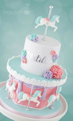 By Little Cherry Cake Company Carousel Birthday Parties, First Birthday Cakes, Birthday Cake Girls, Pretty Cakes, Beautiful Cakes, Fondant Cakes, Cupcake Cakes, Carousel Cake, Carousel Party