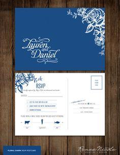 "Wedding RSVP Postcard -- Sweet ""Floral Charm"""