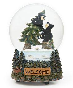 Look at this #zulilyfind! Musical Black Bear Snow Globe Figurine #zulilyfinds