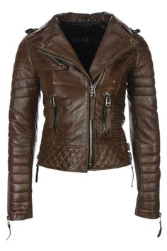 Kay Michael Quilted Biker Creased Brown Jacket - Boda Skins