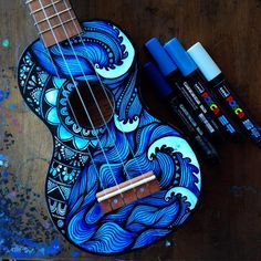 Would you like such a ukulele? I personally, yes) Ukulele Art, Ukulele Chords, Cool Ukulele, Guitar Art, Music Guitar, Ukulele Songs Beginner, Painted Ukulele, Ukulele Design, Posca Art