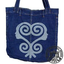 S02. SANKOFA Jeans Denim Shopping Bag Marionelli Tasche / Stofftasche 7 Beutel