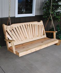 Loving this Unfinished Fanback Porch Swing on #zulily! #zulilyfinds