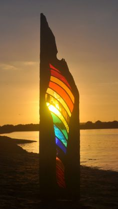 Driftwood & stained glass sculpture