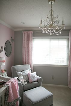 Love the grey and pink, or grey and navy blue? Was going with grey anyway?!? Hmmm Toddler Rooms, Toddler Girl, Baby Kids, Kids Bedroom, Gray Bedroom, Nursery Room, Nursery Ideas, Pink And Grey Nursery Baby Girl, My Baby Girl