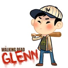 """I'm thinking about doing a serie of drawings called """"little ass kickers"""" in which I draw all the walking dead characters like this one, I hope you like . Little ass kickers:Glenn Twd Glenn, Glenn Y Maggie, Walking Dead Tv Series, Fear The Walking Dead, Glen Rhee, Steven Yuen, Walking Dead Characters, Netflix, Kindle"""