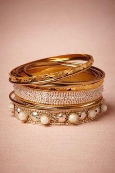Rossetti's Muse Bangles in Shoes & Accessories Jewelry Bracelets at BHLDN Bridal Bracelet, Bridal Earrings, Bridal Jewelry, Wedding Jewellery Designs, Indian Wedding Jewelry, Jewelry Bracelets, Bangles, Silver Bracelets, Jewelry Box