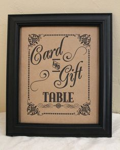 8 x 10 Card and Gift Wedding Sign - Single Sheet- Choose Kraft or White Cardstock (Style: C & G)