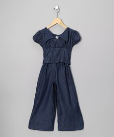 Take a look at this Denim Cartwheel Jumpsuit - Girls by fiveloaves twofish on #zulily today!