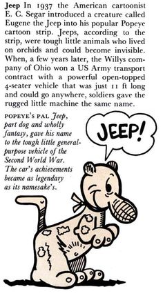 """The story of """"Jeep"""". Jeep Wrangler Yj, Jeep Jeep, Jeep Wrangler Unlimited, Jeep Truck, Eugene The Jeep, Jeep Quotes, Jeep Humor, Jeep Brand, Vintage Jeep"""