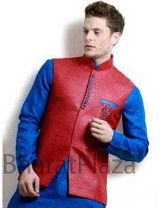 Conspicuous Red Waist Coat Item code : NJ1125  http://www.bharatplaza.com/mens-wear/coats/conspicuous-red-waist-coat-nj1125.html
