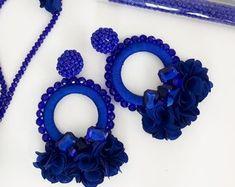 The place to buy and sell everything that is handmade, Blue Earrings, Etsy Earrings, Beaded Earrings, Hoop Earrings, Floral Hoops, Fabric Jewelry, Diy Accessories, Statement Earrings, Royal Blue