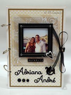 Álbum de fotos em scrapbook para casamento (visão geral da decoração) #tkscrapbook