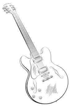Guitarra Eléctrica Dibujo para colorear                                                                                                                                                      Más