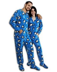 3b094e2bef Pajama City Dalmation Corporation offer the best PajamaCity Blue Penguins  Print Polar Fleece Drop Seat Footed Pajamas for Teens and Adults Size 6 to