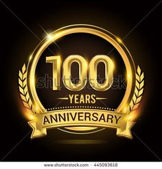 Celebrating 100 years anniversary logo with golden ring and ribbon.