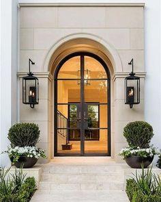 Ideas Modern Front Door Lighting Window For 2019 Iron Front Door, Black Front Doors, Double Front Doors, Glass Front Door, Front Entry, Black Windows, Arched Front Door, Arched Doors, Porch Entry