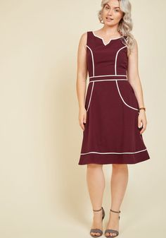A Lot to Author A-Line Dress in Burgundy | Mod Retro Vintage Dresses | ModCloth.com