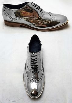 UNISEX handmade high-quality brogue shoes with a mirror finish available in various colours including chrome silver and gold. Available for both men and women from London-based footwear designer Luke Grant-Muller, free shipping worldwide.