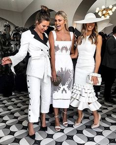 Race wear outfits. Jacket and Blazer ensemble done right. All white looks