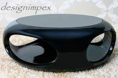Couchtisch C-333 schwarz Hochglanz mit Schwarzglas NEU