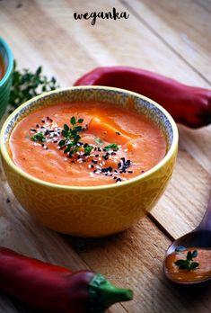 Zupa krem z pieczonej dyni i papryki Thai Red Curry, Soup Recipes, Cantaloupe, Thanksgiving, Fruit, Cooking, Ethnic Recipes, Food, Kitchen