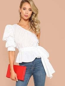 SHEIN Sexy White One Shoulder Puff Sleeve Peplum Knot Belted Top Blouse Women Summer 2019 Solid - for a night outfit? Blouse Peplum, Tie Blouse, Ruffle Blouse, Sexy Blouse, Look Fashion, Fashion Outfits, Fashion Mode, Girly Outfits, Petite Fashion