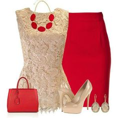 Love the bold red and nude.
