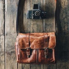 The Leather Brixton Messenger in antique cognac